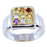Bague Or Bicolore Serti grain Arc en ciel I
