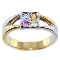 Bague Or Bicolore Serti grain Arc en ciel II