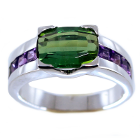 Bague Or Blanc Serti griffe Lande