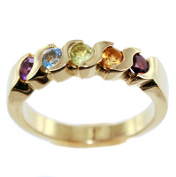 Bague Or Jaune Serti barette Rainbow