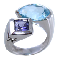 Bague Or 18 K Blanc Serti clos Chloris Star