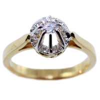 Bague de fiançailles Serti illusion Nufe 0,23ct Or Bicolore