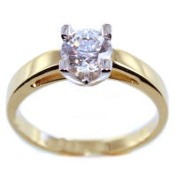 Bague de fiançailles Serti griffe Mapla 0,82ct Or Bicolore