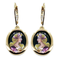 Boucles d'oreilles Or Jaune Email - Coiffe rose