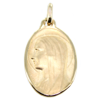Médaille Or Jaune Sainte Vierge ovale - Taille 3