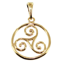 Pendentif Or Jaune Triskell encerclé - Taille 4