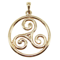Pendentif Or Jaune Triskell encerclé - Taille 6