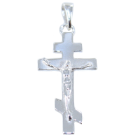 Croix orthodoxe avec Christ - Taille 1 Argent