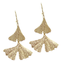Boucles d'oreilles Or Jaune Ginkgo Taille 2