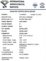 Diamant Taille Brillant 5.36mm 0.60 carat HSI2 - Image 2