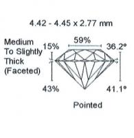 Diamant Taille Brillant 4.42mm 0.34 carat GSI2 - Image 4