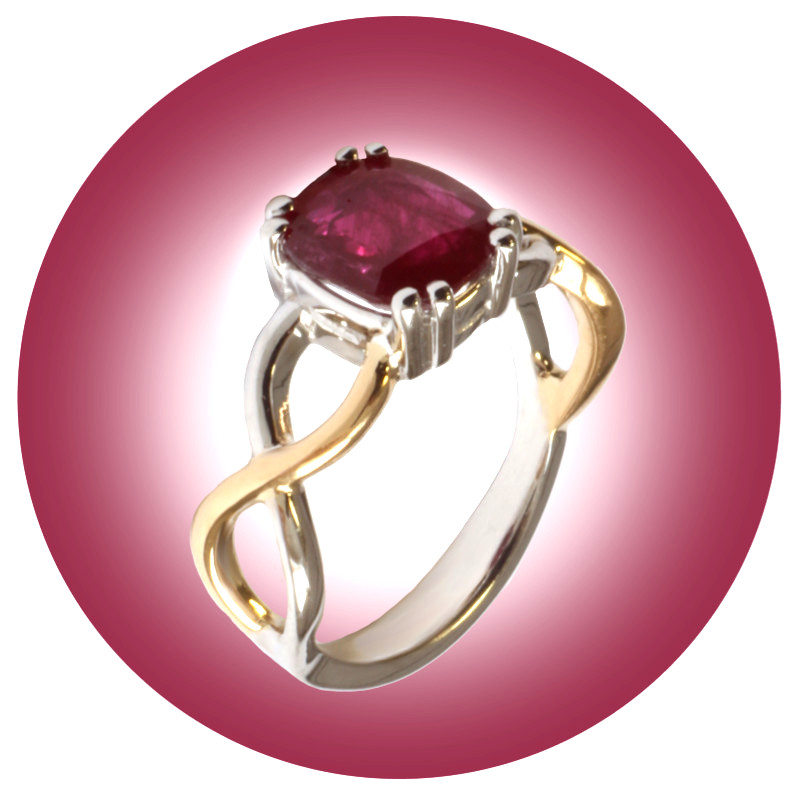 Bague rubis coussin